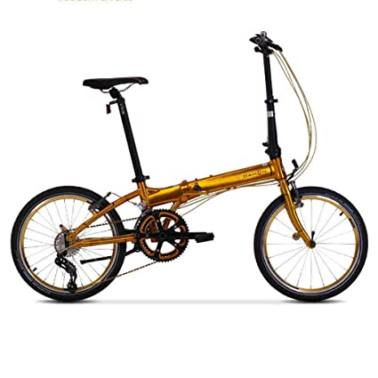 Monociclos Bicicleta Plegable Bicicleta Unisex 20 Pulgadas Rueda Ultraligera Bicicleta Adulta portátil (Color : Gold