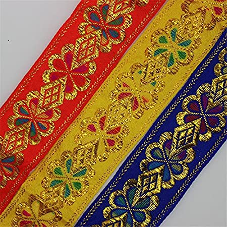 Generic Blue 7m45mm Gold Thread Embroidery Jacquard Ribbon