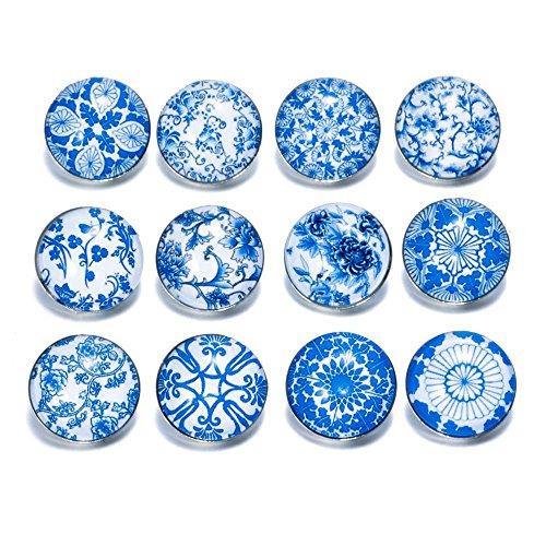 Soleebee click-button aluminium verre pression boutons femme à Pression 5.5mm snaps Un groupe de 12 Bleu Blanc Porcelaine