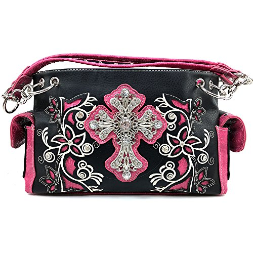 Justin West Western Rhinestone Cross Weaved Leather Laser Cut Floral Design Chain Shoulder Back Conceal Carry Handbag Purse with Flat Wallet (Hot Pink Purse Only) (Western Hot Pink Purse)
