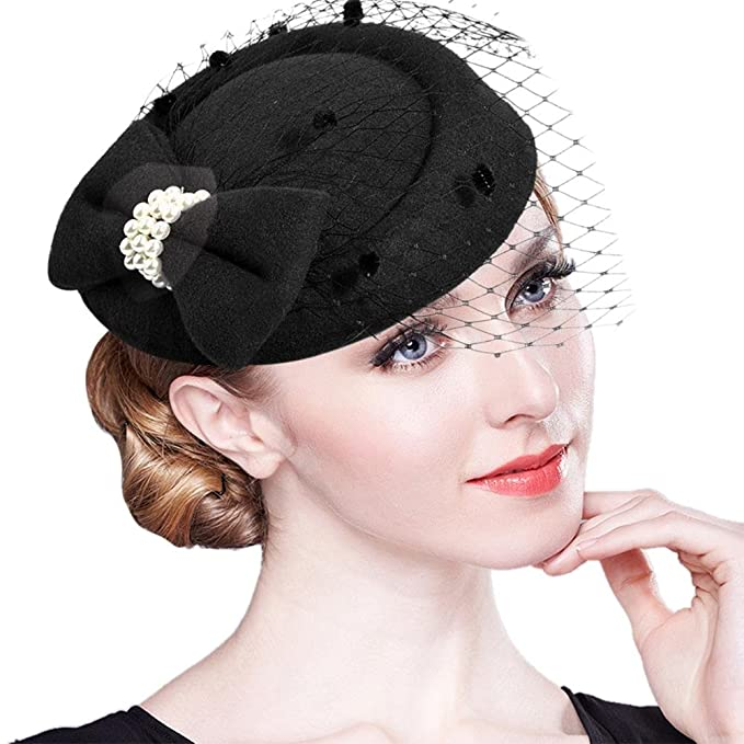 dfdeef19c0c8 iShiné Cappello Cerimonia Vintage Cappello Cilindro da Donna Elegante per  Matrimonio  Amazon.it  Abbigliamento