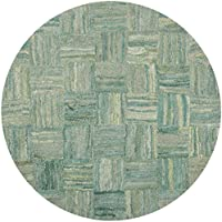 Safavieh Nantucket Collection NAN316A Handmade Abstract Green and Multi Cotton Round Area Rug (6 Diameter)