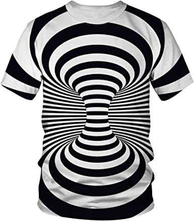 Fashion Men/'s and women/'s Unisex 3D vortex printing short sleeve T-shirt Blouse
