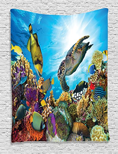 Ambesonne Ocean Decor Collection, Fishes and Old Turtle Hawksbill Floats under Water between Coral Reefs Aquatic Environment Picture, Bedroom Living Room Dorm Wall Hanging Tapestry,