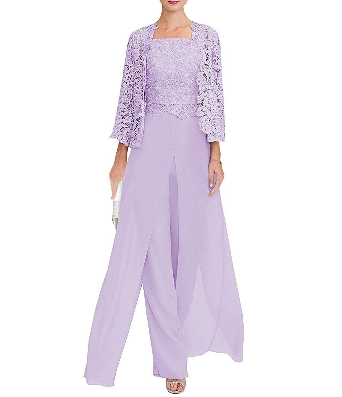CLOTHSURE Womens Lace Dress 3 Piece Mother of The Bride Pant Suits Long Sleeve with Jacket Evening Cocktail Dresses