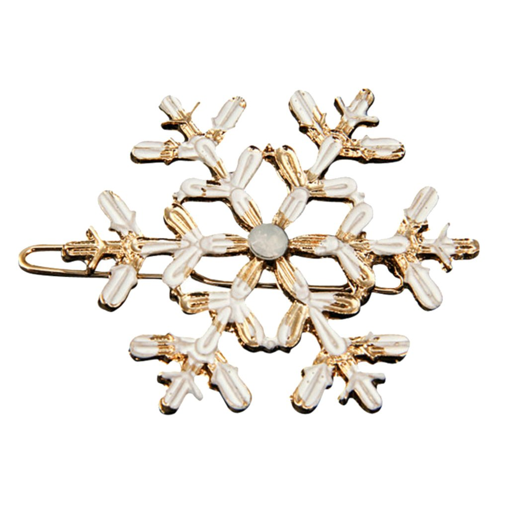 MonkeyJack Large Snowflake Barrette Clip Gold Alloy Enamel Decor Hairpin Women's Wedding Charm Hair Accessories