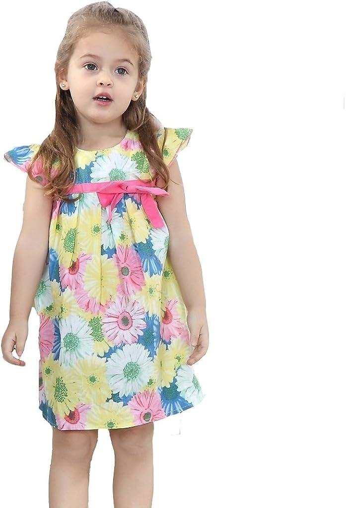 VIKITA Baby M/ädchen Kleid Blume Drucken Baumwolle Ohne Arm