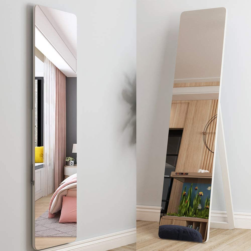 "SDHYL Full Length Floor Mirror, Free Standing Mirror, Easel Dressing Mirror, Angle Adjustable for Living Room Bedroom, 15.9lb, 63"" H x 14.6"" W, White"