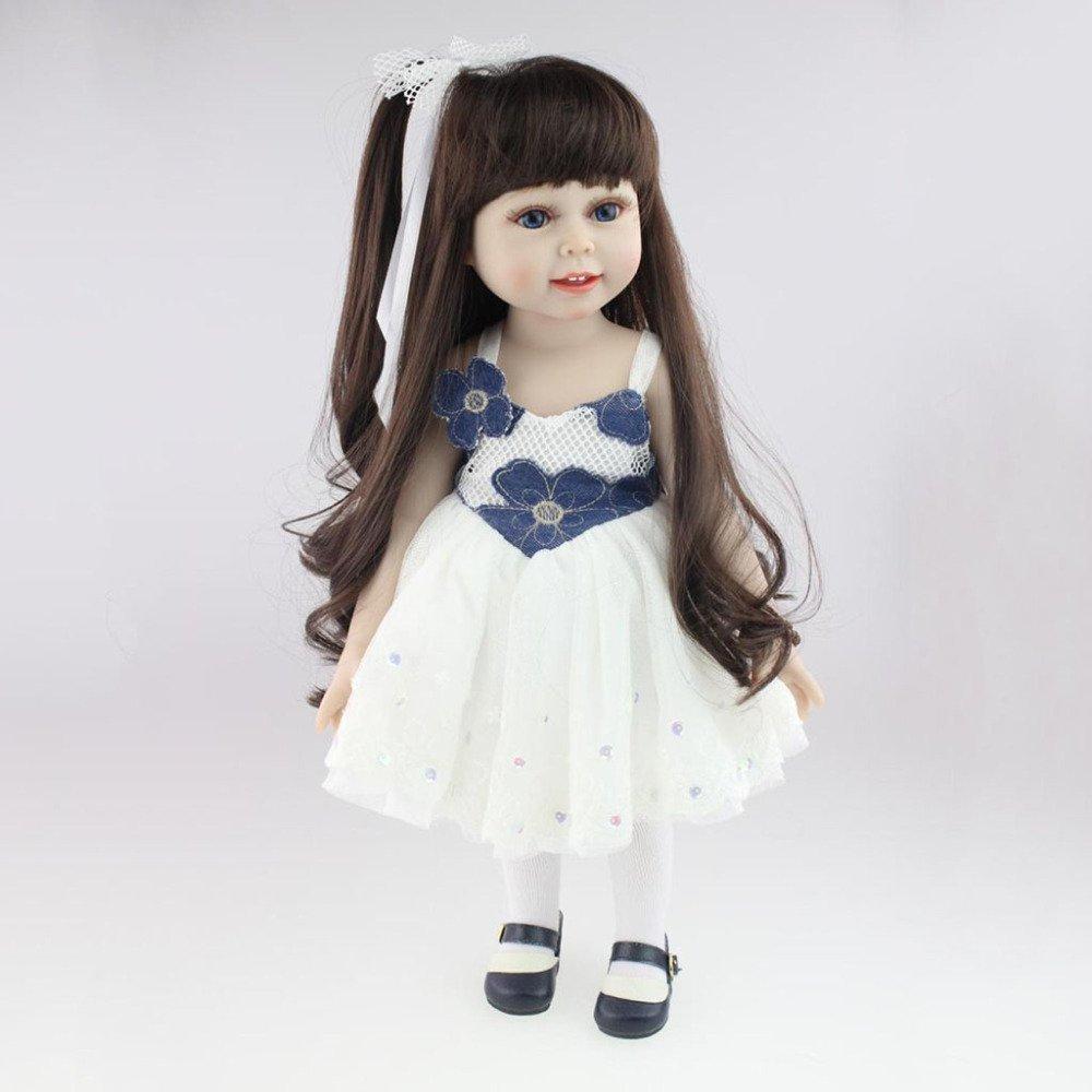 ADZPAB 18 Pulgadas niña muñeca Linda de Silicona Pelo Largo niña Vestido Blanco muñeca de Juguete 45 cm Puede Lavar