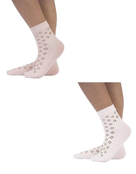 CALZITALY 2 Paar Mädchen Spitzen Socken | Elegante Gehäkelte Socken ...
