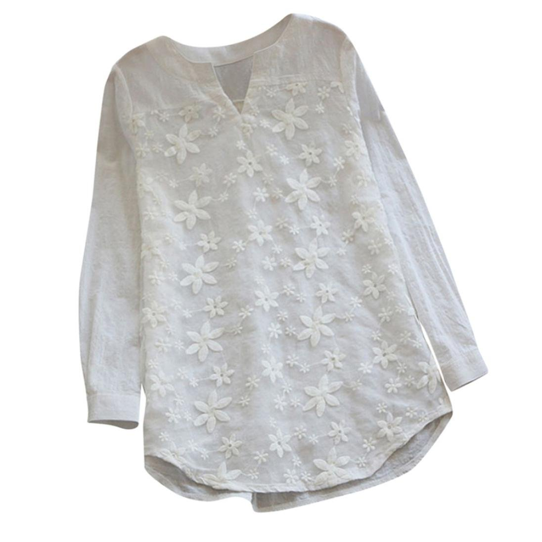 EnjoCho Women's Blouse Floral Lace Embroidery V-Neck Long Sleeve Loose Baggy Tops T Shirt for Women (Size:M, White)