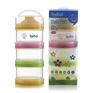 moonbuy Baby Formula Dispensador de leche en polvo portátil 3 capas bebé Almuerzo Almacenamiento de alimentos contenedor de viaje antigoteo