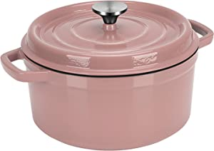 Dutch Oven Pink,Enameled Cast Iron Dutch Oven with Lid, 4 Quart Round Nonstick Enamel Cookware Crock Pot,Dutch Oven with Dual Handle and Cover Casserole Dish 8.66 Inch