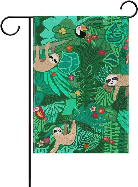SENNSEE - Bandera Decorativa de Doble Cara para jardín, diseño de Animales de Dibujos Animados, 30, 5 x 45, 7 cm, Color Verde, poliéster, 28x40(in): Amazon.es: Jardín