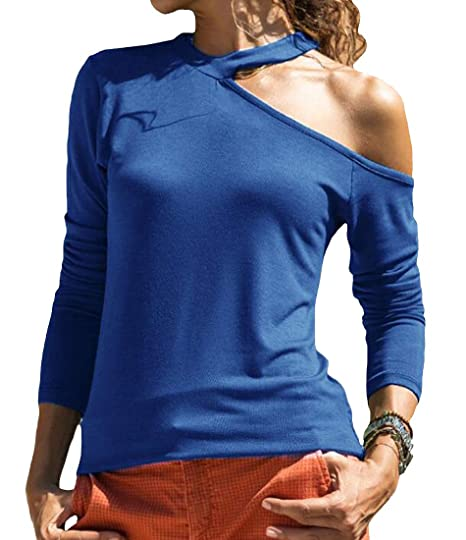 cc8bd9b6563d3 ARTFFEL Women Casual Sexy Long Sleeve Cold Shoulder Solid T-Shirt Blouse Top  at Amazon Women s Clothing store