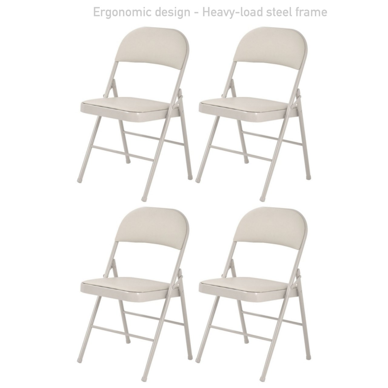 Portable Commercial Folding Chair Wedding Party Holidays Event Seat Durable Heavy-load Steel Frame PU Leather Padded Seat Home Kitchen Office Furniture - Set of 4 Beige # 1730