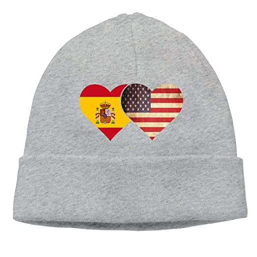 08d92af26ae Unisex Spanish Flag and American Flag Beanies Knitted Caps Warm Skull Hats  at Amazon Men s Clothing store