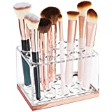 mDesign Plastic Makeup Brush Storage Organizer with 15 Slots for Bathroom Countertop Vanity to Hold Beauty Blenders Eye/Lip Pencils Lip Gloss Liners Lipstick - Clear/Rose Gold
