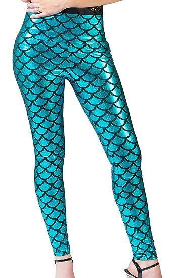 99c033f5b9f449 Meerjungfrau Leggings für Damen - Türkis - Glänzende Hose für Karneval,  Mottoparty oder Junggesellenabschied