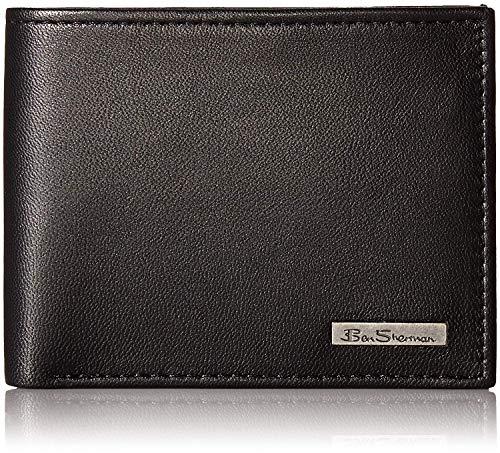 - Ben Sherman Men's Brick Lane Sheepskin Leather Traveler Passcase Wallet with Logo Plate, black, One Size