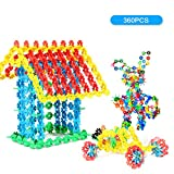 NextX Building Blocks Set Plastic Building Discs Brain Flakes ,STEM Toys for Preschool Boys and Girls -360pcs with Storage Bag