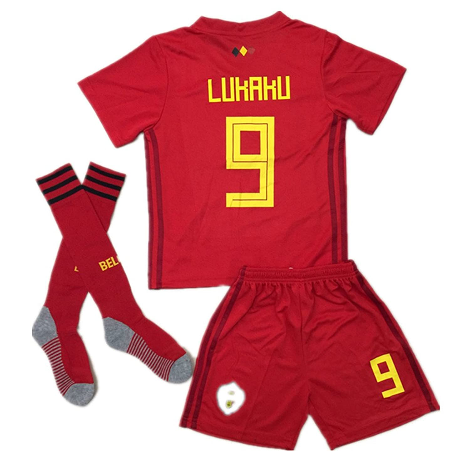 Discount BelgiumJS 9 Lukaku 2018 Russia World Cup Belgium Home Soccer Jersey Youth/Kids Jersey & Shorts & Socks