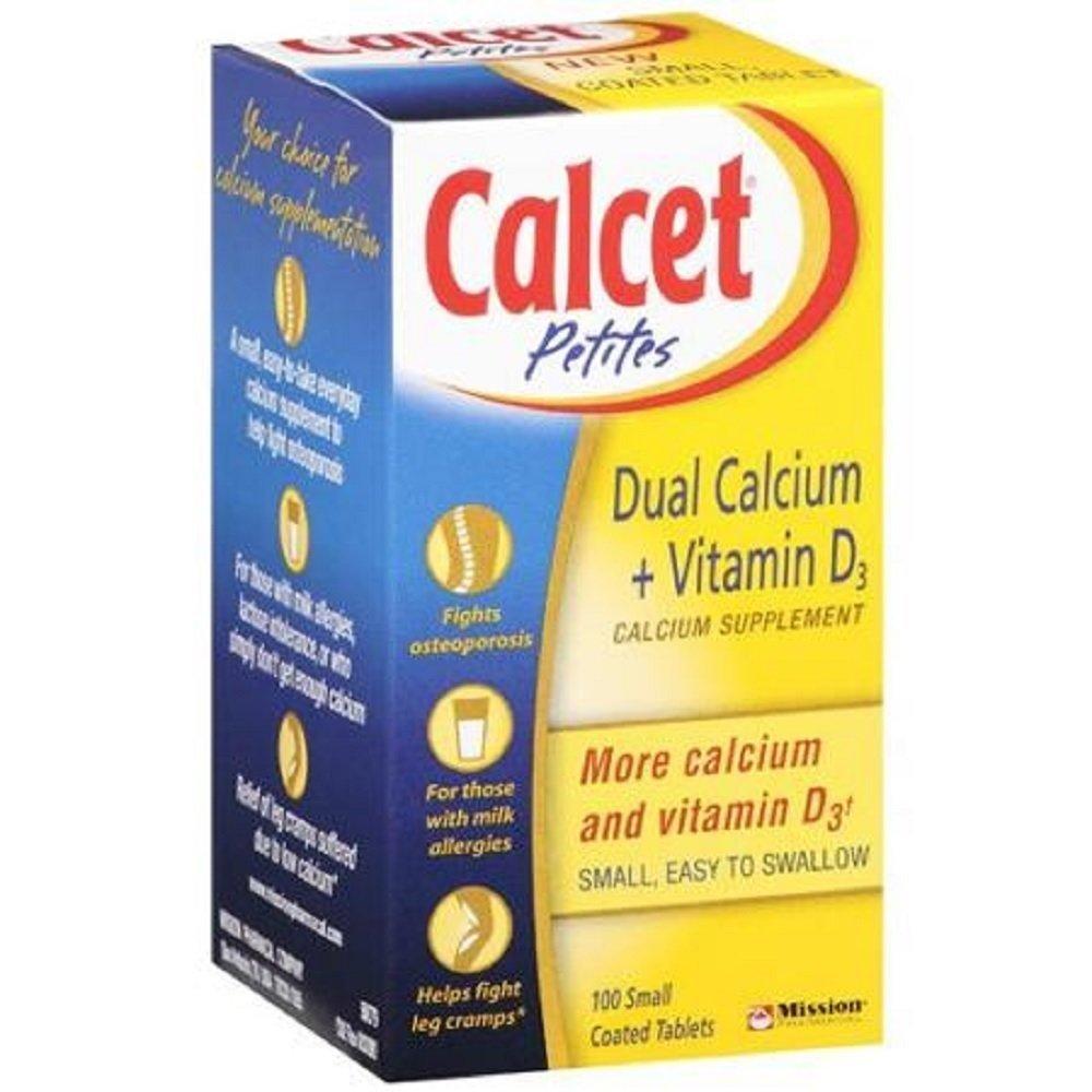 Calcet Petite Dual Calcium + D3 Tablets 100 Count Per Bottle (6 Bottles)