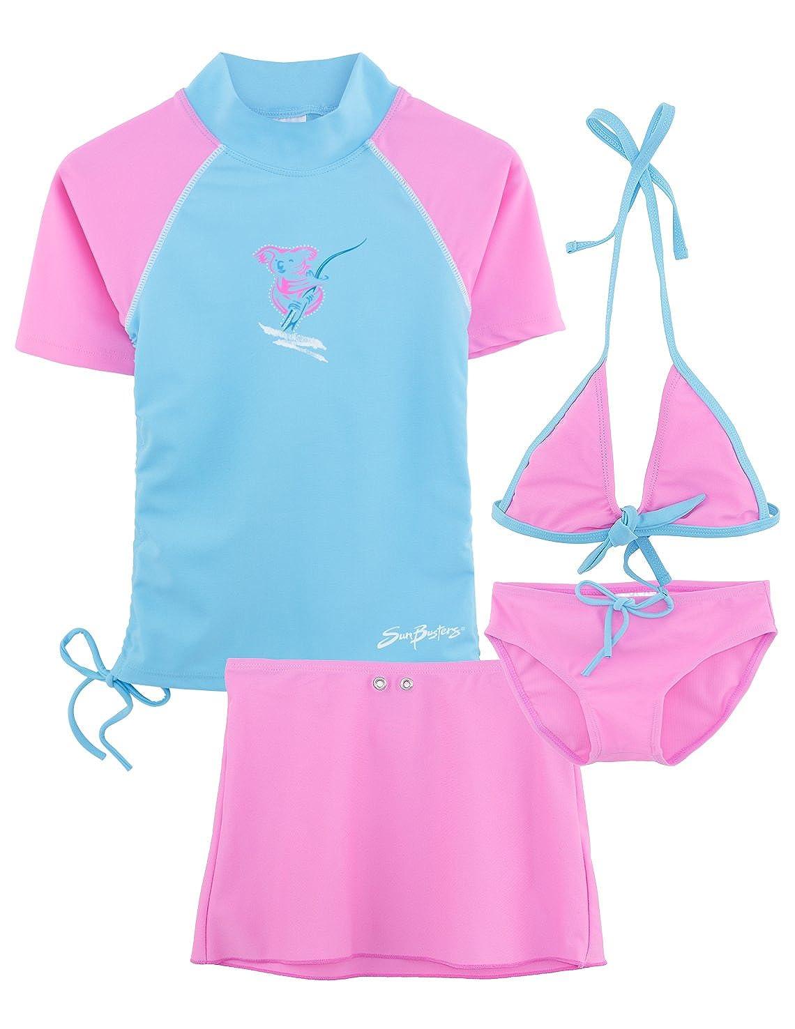 SunBusters Girls Ruched Swim Set 12 mos-12 yrs, UPF 50+ Sun Protection Plangea