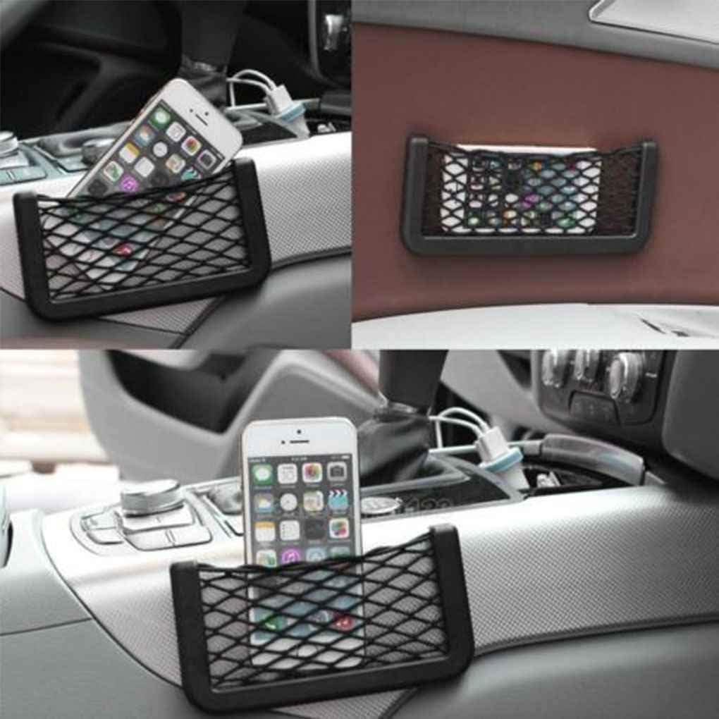 PRENKIN Universal Car Side Back Storage Elastic Mesh Net Bag Phone Holder Pocket Organizer