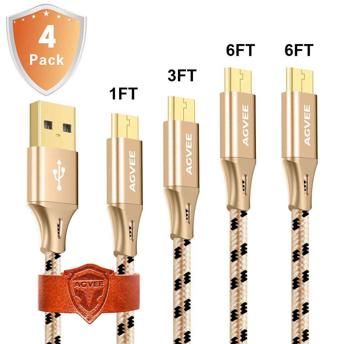 3Amp Heavy Duty, Agvee 4Pack 1Ft 3Ft 6Ft/2m Micro USB Cable Set Nylon Braided, Usb 2.0 Fast Charging Long Data Sync Portable Cord for Wireless Charger Android Samsung Galaxy S7 Edge S6 S5 S4 J7 Note 5