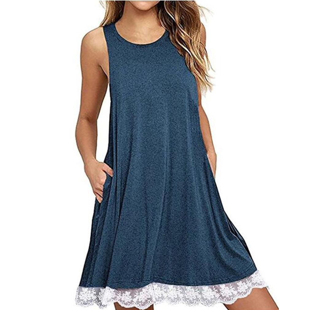 Jaminy Damen Frauen O-Ausschnitt Casual LACE Ärmelloses über Knie Kleid Lose Party Kleid Sommerkleid Minikleider Tunikakleid Bohemian Strandtunika