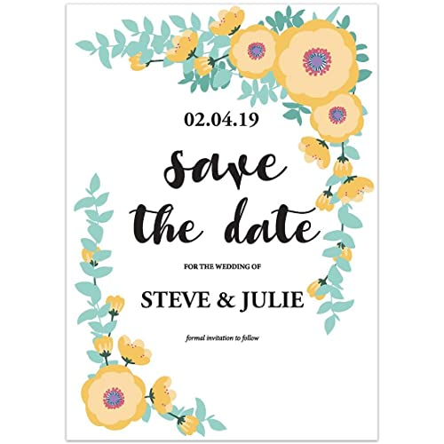 Amazon Com Flowers Branches Yellow Save The Date Wedding