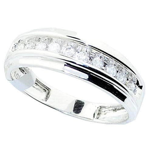rings-midwestjewellery. com hombre 10 K oro blanco anillos de boda redondo de diamantes
