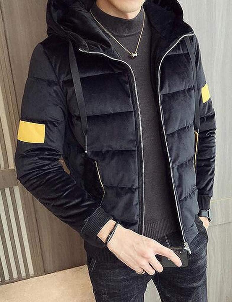ARTFFEL Men Warm Zip Up Winter Pleuche Hoodie Down Quilted Puffer Jacket Coat Outerwear