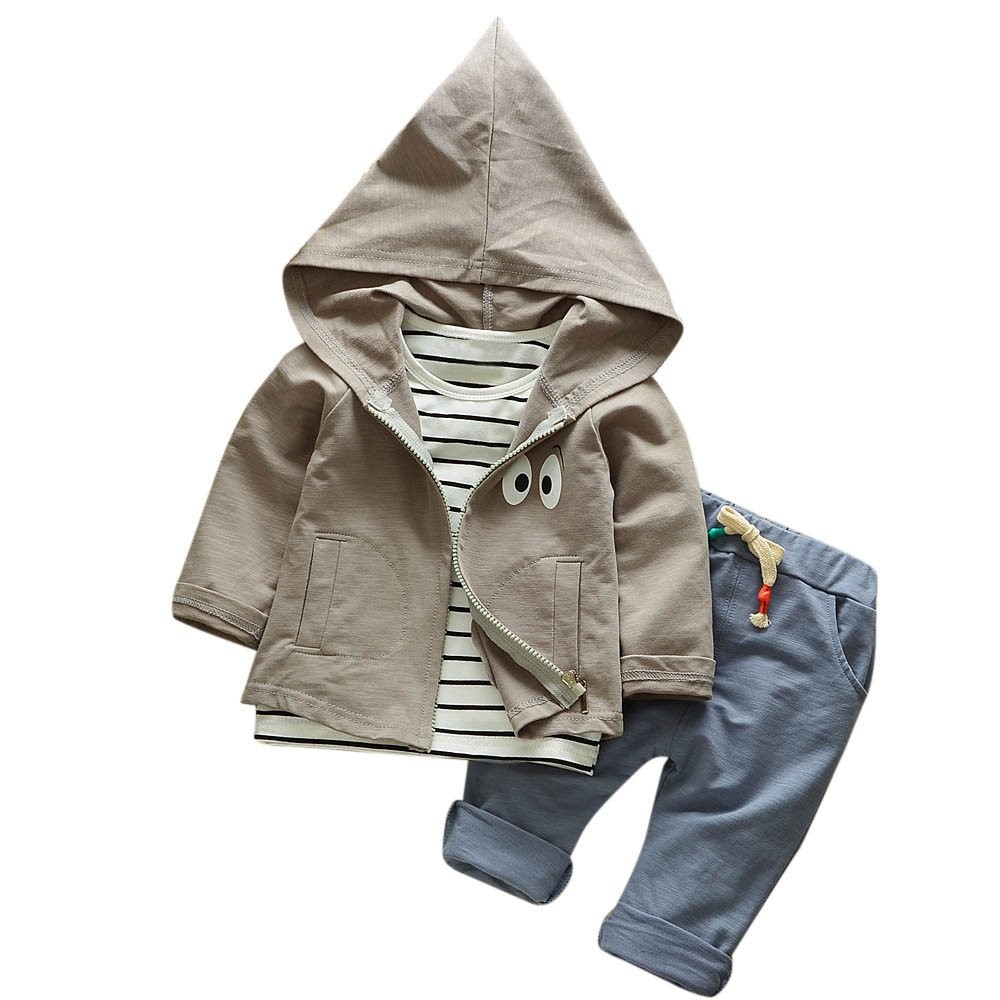 ❤️Mealeaf❤️ Baby Boys and Girls Clothes with Toddler Kid Baby Girls Boys Outfits Stripe T-Shirt+Hooded Coat+Pants Clothes Set (3-4 Years Old, Gray)