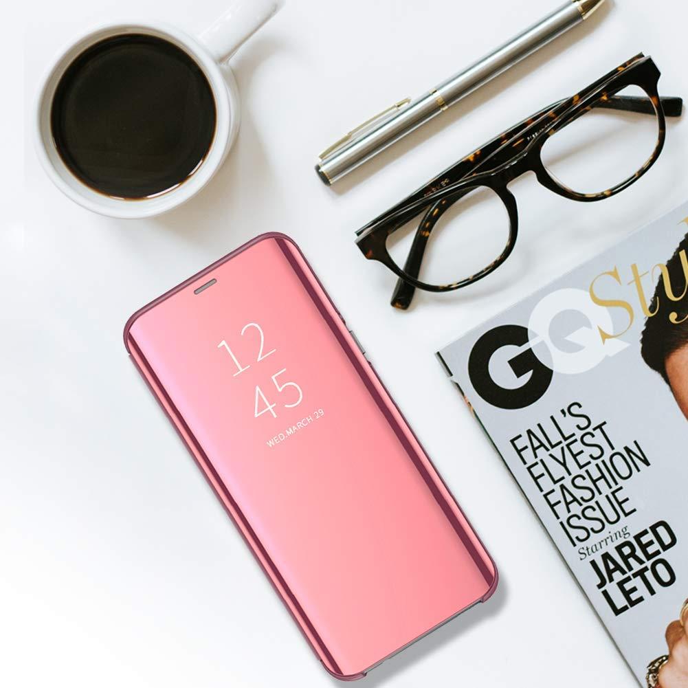 H/ülle Kompatibel mit Galaxy S10 Galaxy S10 Plus Handyh/ülle Spiegeln PU Leder Flip H/ülle St/änder Clear View Spiegel /Überzug PC Schutzh/ülle mit Hart Standfunktion Galaxy S10, Gold