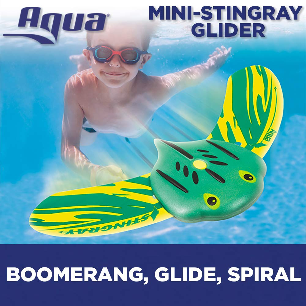 Aqua Mini Stingray Underwater Gliders (2 Pack), Self-Propelled, Adjustable Fins, Travels up to 40 Feet, Pool Game, Ages 5 and up by Aqua