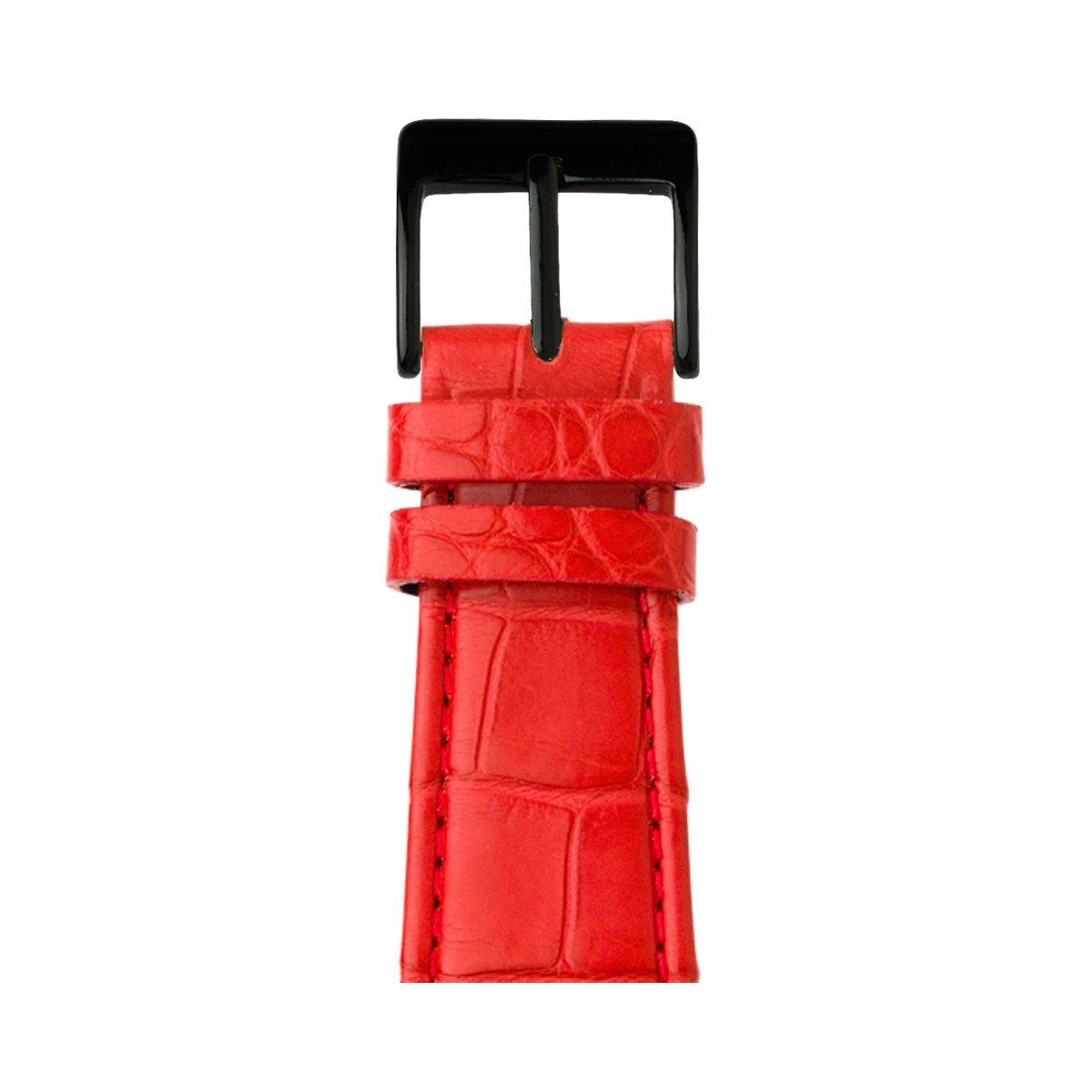 Roobaya | Premium Alligator Leather Apple Watch Band in Red | Includes Adapters matching the Color of the Apple Watch, Case Color:Space Black Stainless Steel, Size:38 mm