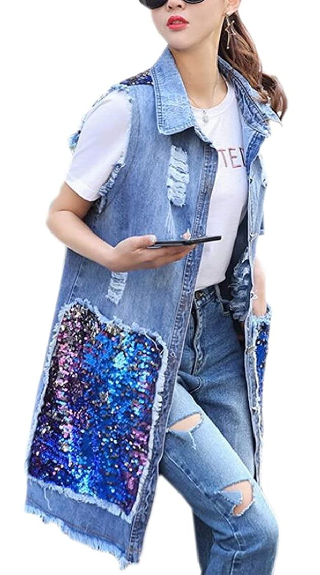 QD-CACA Womens Summer Sleeveless Washed Coat Long Denim Vest