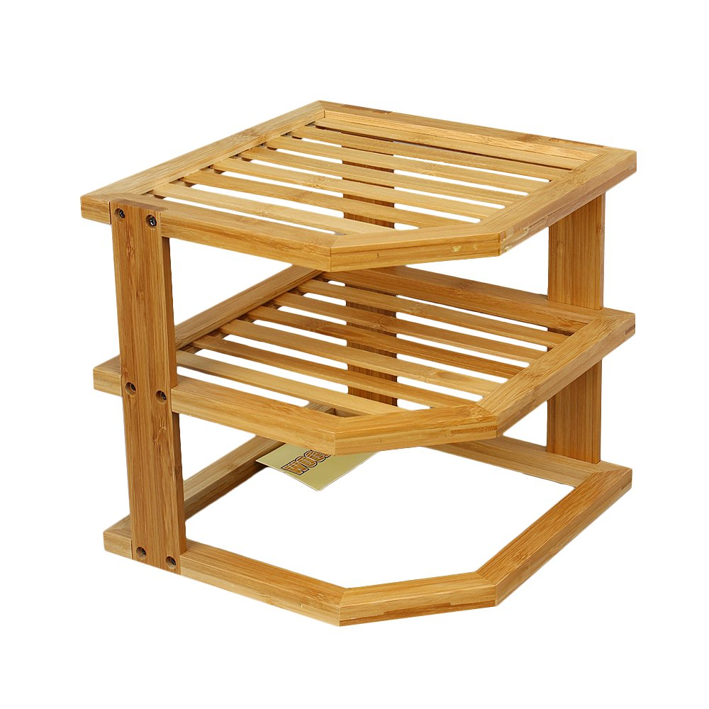 Woodluv 100% Bamboo 3 Tier Corner Shelf Storage Space Saver Unit Tidy Cupboard Organiser