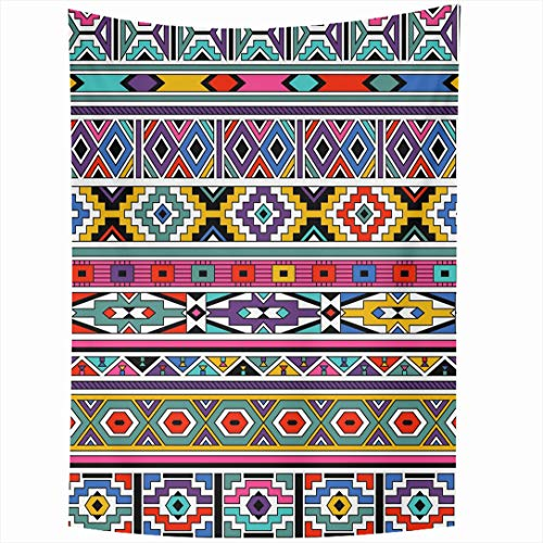 Ahawoso Tapestry 50x60 Inch Colorful Africa Retro Colors Tribal Ndebele Abstract Mexican African North Peru Hipster South Amirica Antique Tapestries Wall Hanging Home Decor Living Room Bedroom Dorm