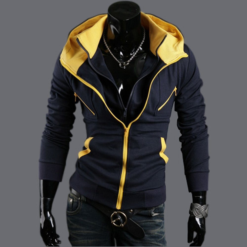 Mens Stylish Fashion Slim Fit Double Zipper Jacket Hoodie Coat PK26 (Asian XXL = US Large, Black-Yellow)
