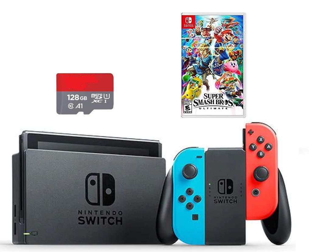 Nintendo Switch Super Smash Bros. Bundle: Nintendo Switch 32GB Console with Neon Blue and Red Joy-Con, SSB Ultimate Game, 128GB SD Card
