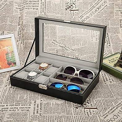 Caja para reloj y gafas, expositor, caja de reloj, funda para relojes y gafas, caja de presentación bloqueable, caja de almacenamiento de poliuretano para 6 relojes, 3 gafas, color negro: Amazon.es: Joyería