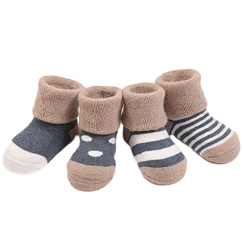 Cute 4 Pair Infant Baby Toddler Winter Socks for Girls and Boys Warm Yodosun