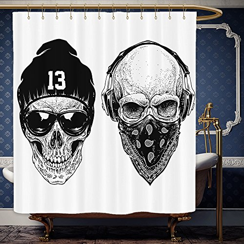 Wanranhome Custom-made shower curtain Skulls Set Funny Skull Band Dead Street Gangs With Bandanna And Hood Rapper Style Grunge Print Black White For Bathroom Decoration 72 x 92 - Galleria Main Street