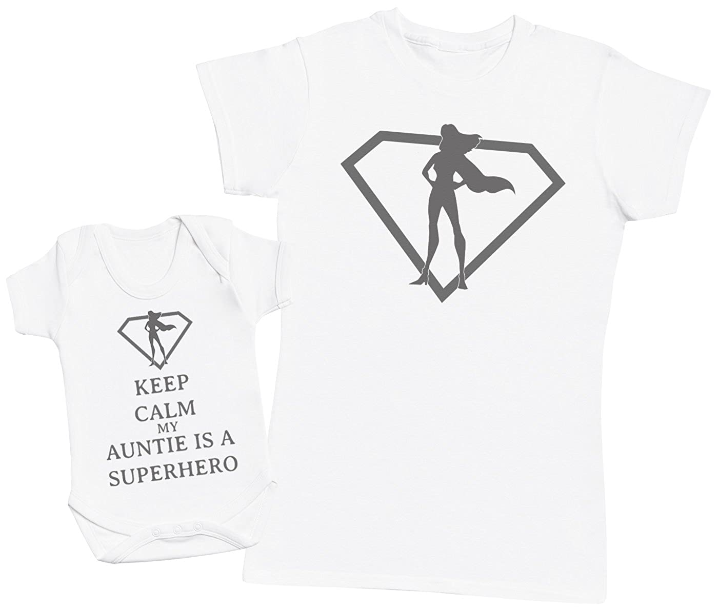Zarlivia Clothing Keep Calm My Auntie is A Superhero - Matching Mother Baby Gift Set - Womens T Shirt & Baby Bodysuit