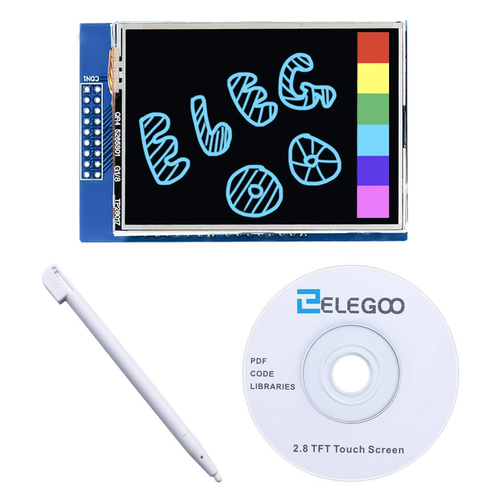 Elegoo EL-SM-004 UNO R3 2.8 Inches TFT Touch Screen with SD Card Socket w/All Technical Data in CD for Arduino UNO R3 by ELEGOO