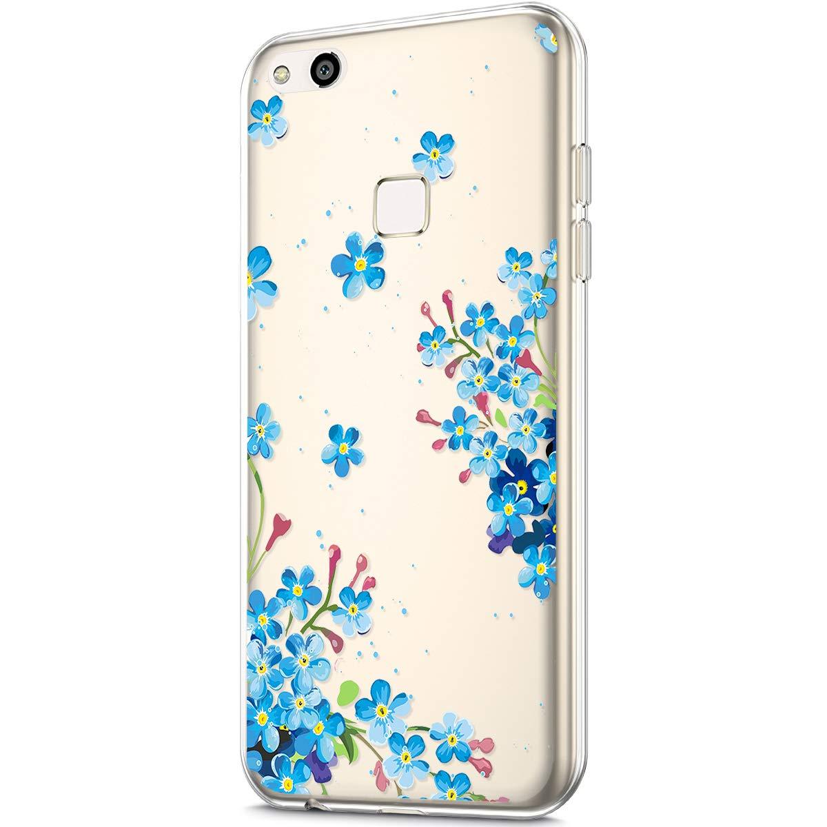 Felfy Kompatibel mit Huawei P10 Lite H/ülle,Kompatibel mit Huawei P10 Lite Handyh/ülle Transparent Silikon Schutzh/ülle Elegant Muster D/ünn Weich Klar Silikonh/ülle Sto/ßfest Schlank Cover Case H/üllen