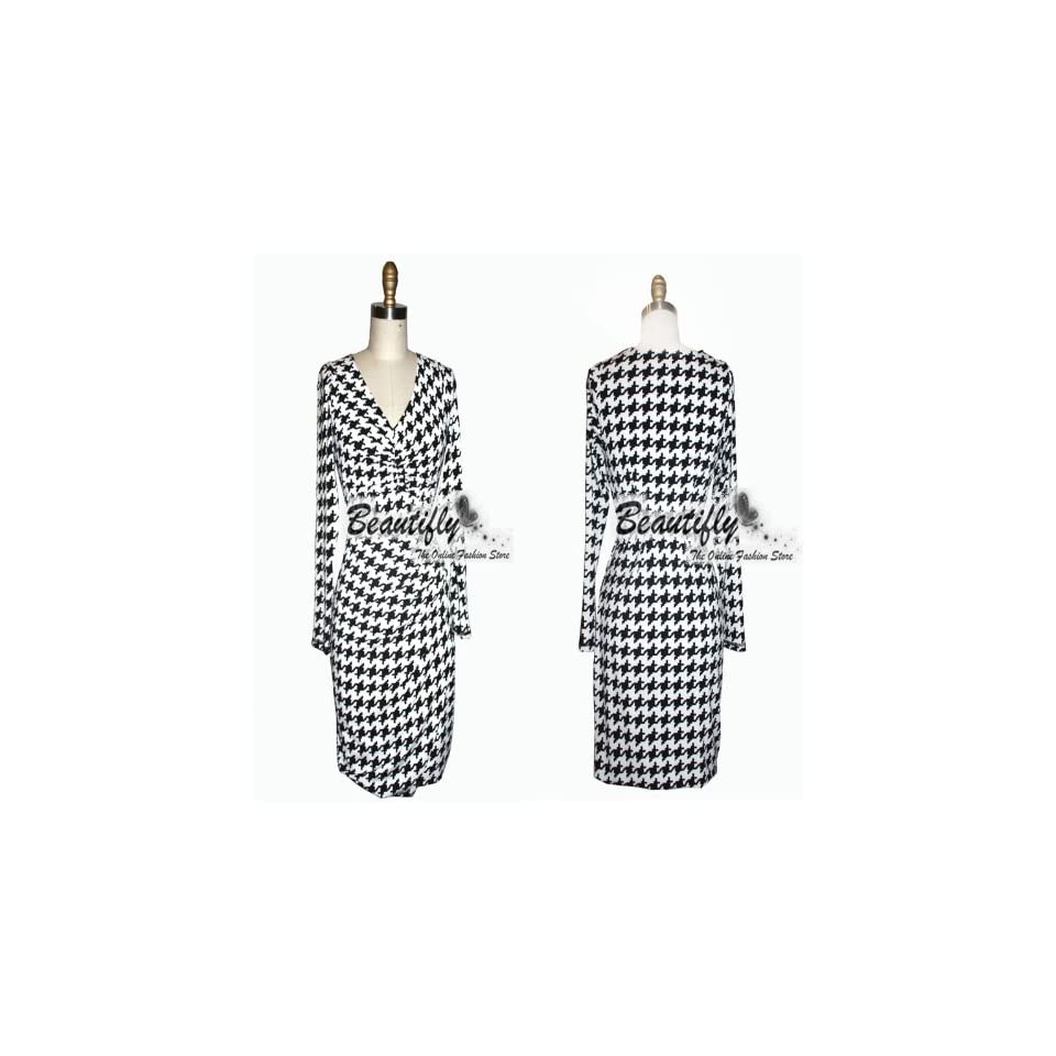 neck Houndstooth Print Long Sleeves Casual Cocktail Ball Women Dress